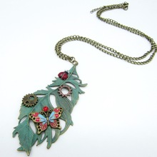 Nice Look Feather with Colored Butterfly Cute Beetle and Gears Women`s Pendant Necklace Jewelry