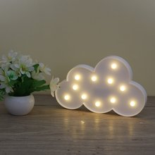 3D Marquee Cloud Night Lamp with 11LED Battery operated White Cloud Letter light For Christmas Decoration Kid's Gift