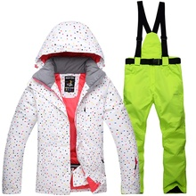 Dots Printed snowboard suit for women waterproof snow ski jacket + snowboard board pants chaqueta esqui mujer female windproof