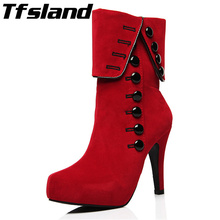 Buy Tfsland Women Boots 2018 Women Red Button Fur Suede Leather Ankle Boots High Heels Shoes Botas Femininos Walking Shoes Sneakers for $23.32 in AliExpress store