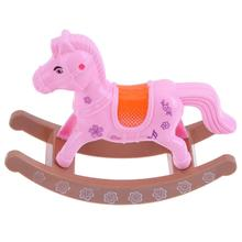 Sweet Pink Horse Toys For Kids Girls Plastic Miniature Rocking Horse Toy Dollhouse Accessories for Doll Kid Funny Toys(China)