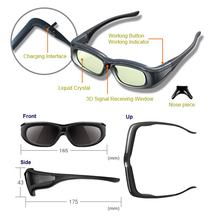 1pc RF 3D bluetooth Glasses Eyewear for JVC/sony/Epson LCD 3D Projectors models 5200/8515/6510/3020/6515/550/5300 & retail box