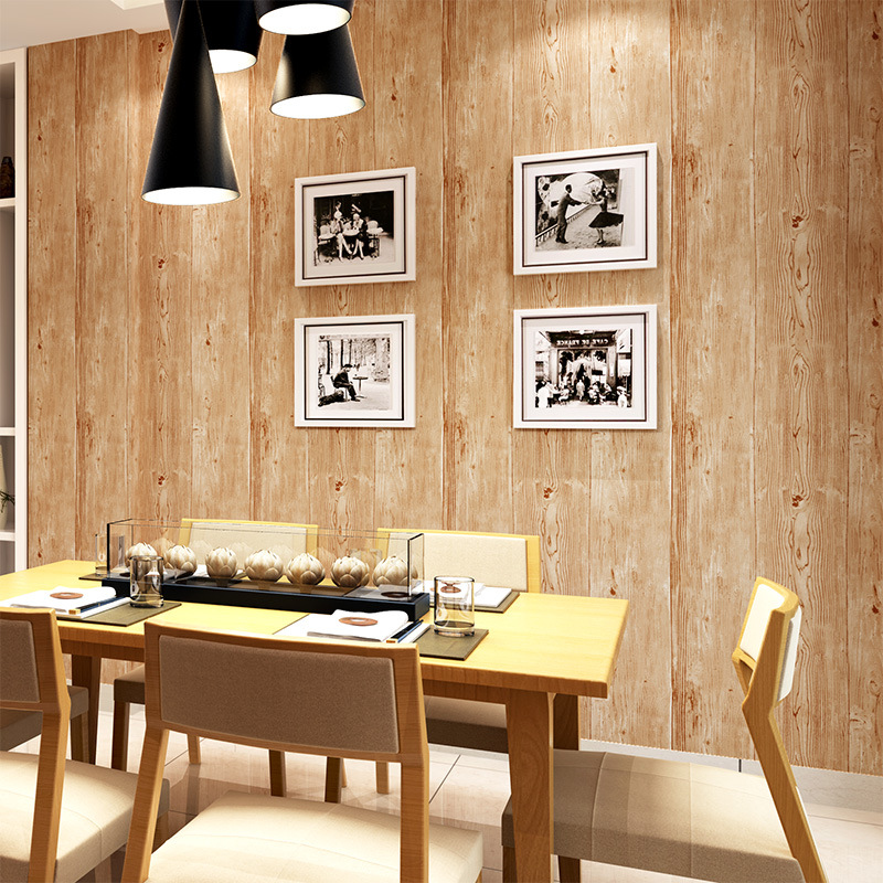 beibehang Retro Gray Wallpaper Coffee House Clothing Store Chinese Restaurant KTV Net Coffee Wooden Wallpaper<br>