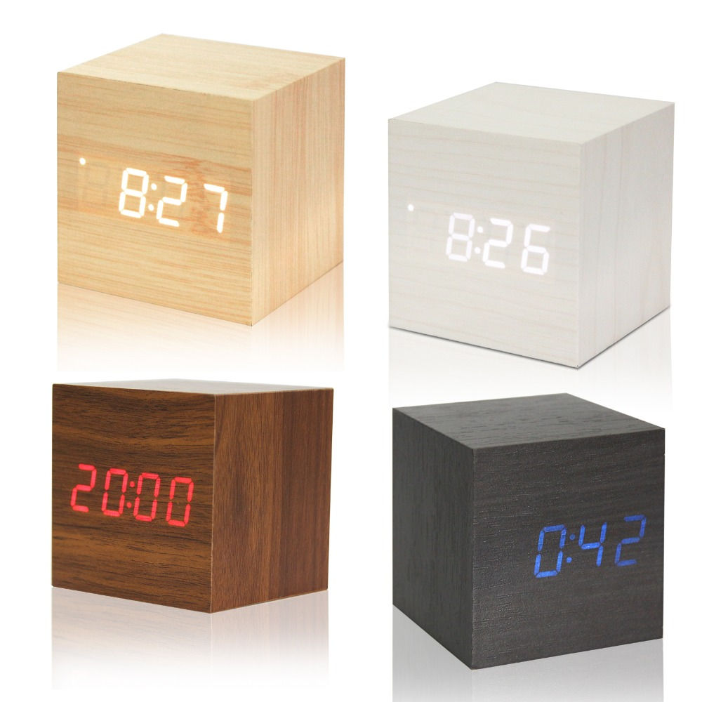 1Pcs Wooden LED Alarm Clock With Thermometer Temp Date LED Display Calendars Electronic Desktop Digital Table Clocks For Gifts(China (Mainland))