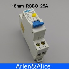 18MM RCBO 25A 1P+N 6KA Residual current differential automatic Circuit breaker with over current and Leakage protection