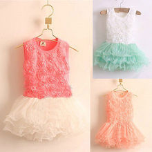 HOT Baby Girls Rose Flower Princess Party Tulle Tutu  Fancy Dress Costume