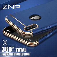 ZNP Luxury 360 Degree Ultra Thin Protective Case For iphone X Cases Shockproof Full Cover For iphone 8 7 6 6s Plus X Phone Case(China)