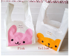 Small size 28*15cm Mini cute pink bunny yellow Winnie plastic bag with handle packaging food Children's day vest bag 100pcs/lot(China)