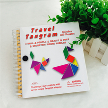 150 240 Puzzles Magnetic Mathematic Tangram Toys Children Kids Gift Challenge IQ Book Educational Magic Book