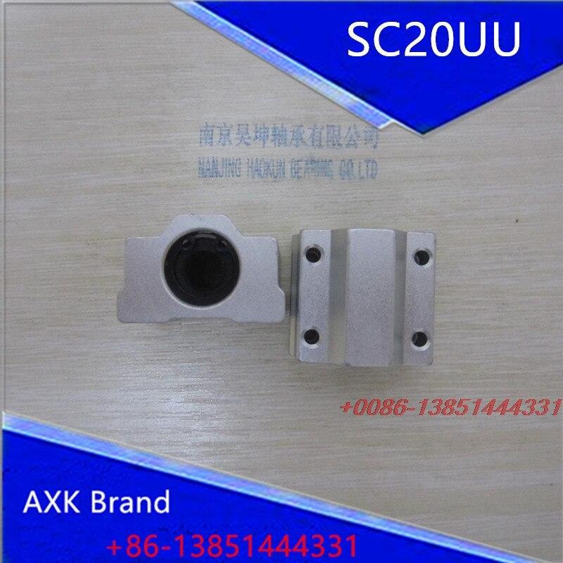 AXK 2X 4 Pcs SC20UU 20mm Aluminum Linear Motion Ball Bearing Slide Bushing for CNC<br><br>Aliexpress