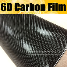 "60X152CM(20""X60"")/Lot 6D Gloss Carbon Fiber Vinyl Wrap Car Wrapping Film With Air Release Glossy Carbon 6D like Real Carbon Film"