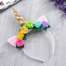 Girls Gold Unicorn Hairbands with Pony Ear and Felt Rose Flower Animal Unicorn Party Stretch Headband and Hair Clips(China)
