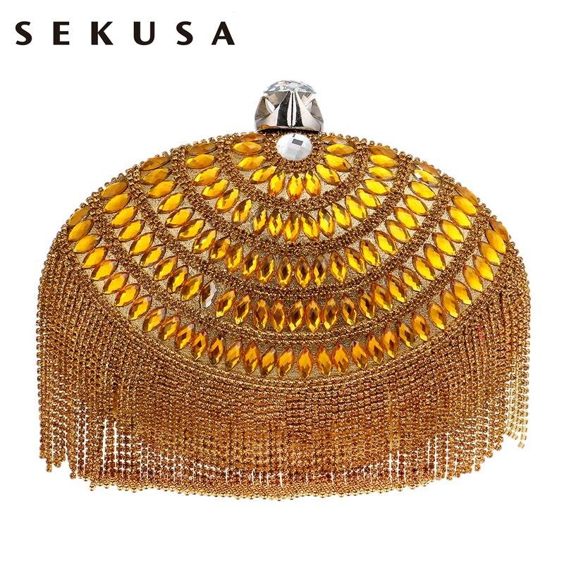 SEKUSA Egg Shaped Women Evening Clutch Bag Tassel Rhinestones Beaded Shoulder Chain Purse Evening Bag For Christmas Gift Bag<br>