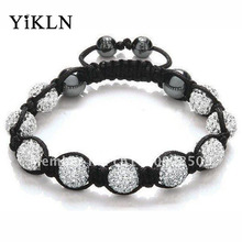 YiKLN Shamballa Jewelry Bracelets For Women New Shamballa Bracelet 10mm Micro Pave CZ Disco Ball Beads Shamballa Bangles SHBR21(China)