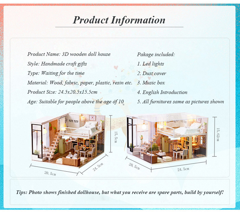 Wooden Miniature DIY Doll House Toy Assemble Kits 3D Miniature Dollhouse Toys With Furniture Lights for Birthday Gift L020 - Waiting Time (3)