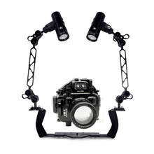 Underwater Waterproof Housing Diving Case for Olympus E-M1 E-M5 E-M5 II E-M10 Camera+ Dual Lighting Arm Bracket +Led Video Torch