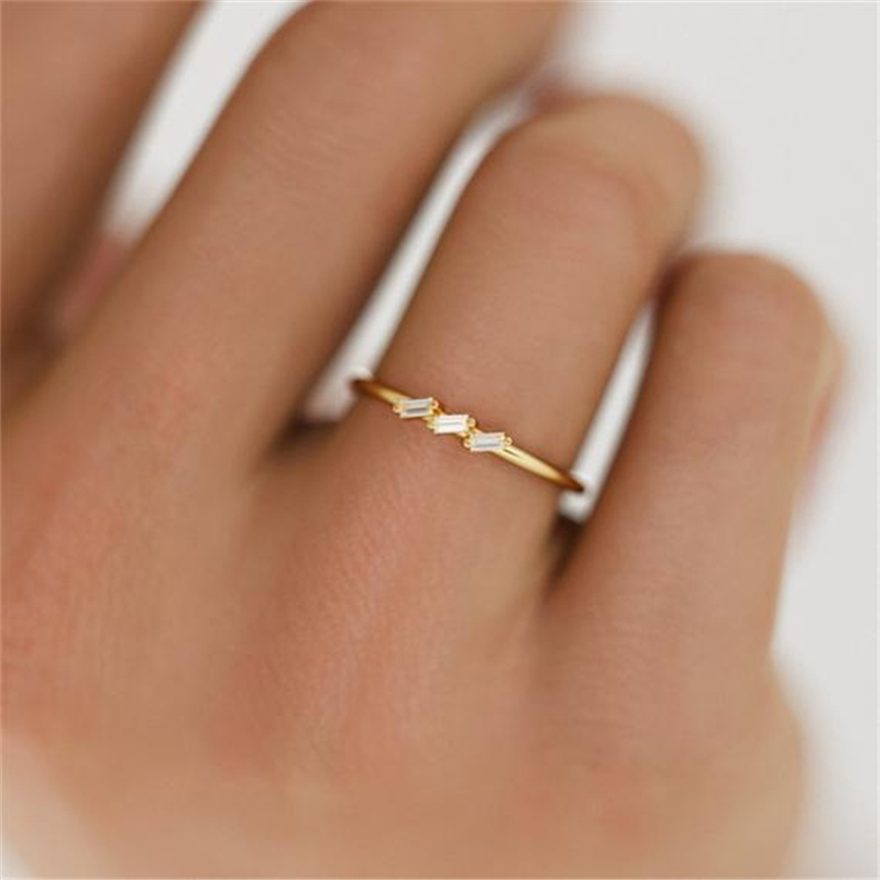 Three Cubic Zircon Wedding Rings for Women Gold Color Crystal Rhinestone Ring Engagement Gifts Fashion Jewelry C25