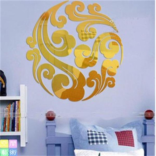 Free shipping new on sale diy weathy flower noble fanily golden home decoration 1MM thick acrylic material wall mirror stickers(China (Mainland))