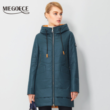 Women's Spring Parkas Windproof Coat Jacket With Hood Fashionable Thin Women's Coats Long Cotton Padded Jacket 2017 New MIEGOFCE