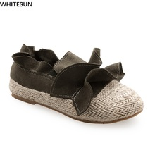 WHITESUN women Flats Fisherman shoes knitting design single shoes woman Slip On ladies Loafers patchwork sewing Women Flat Shoes(China)