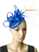 2017 NEW Royal blue sinamay feather fascinator bridal fascinator hair accessory for Kentucky derby and wedding .FREE SHIPPING