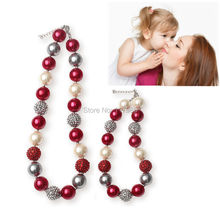 Vcmart 2Pcs Adult & Kid Chunky Bubblegum Necklace Set Red White Silver Mommy Gumball Beaded Little Girls Sisters Necklace Set