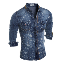 Brand Style Blue Jeans star prints Collar Shirt Men Casual Cotton 2017 Autumn Fashion Long Sleeve Denim Male Shirt(China)