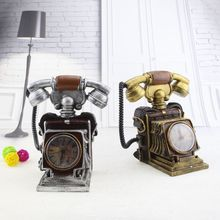 Vintage Telephone Alarm Clock and Piggy Bank Resin Ornaments Clock Crafts Home Decoration Furnishing Articles