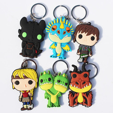 6pcs/lot How to Train Your Dragon 2 Toothless Hiccup Deadly Nadder Rubber Two-sided Keychains Pendants Toys Great Gift