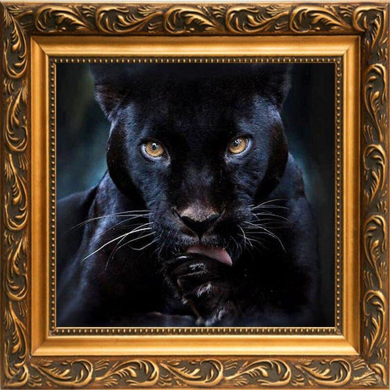 Алмазная вышивка чёрная пантера 58