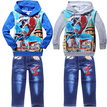 2016 Minnie Mouse Children Clothing Spider Man Spiderman Jeans Boy Long Sleeved Suit Autumn Children's Wear Straight Batch 711