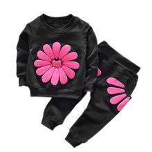 Spring Baby's Sets Autumn Children Baby Girls Boy Sunflower T-shirt + Pants Set Cute Costume Kids Clothing Suit -17 88 F