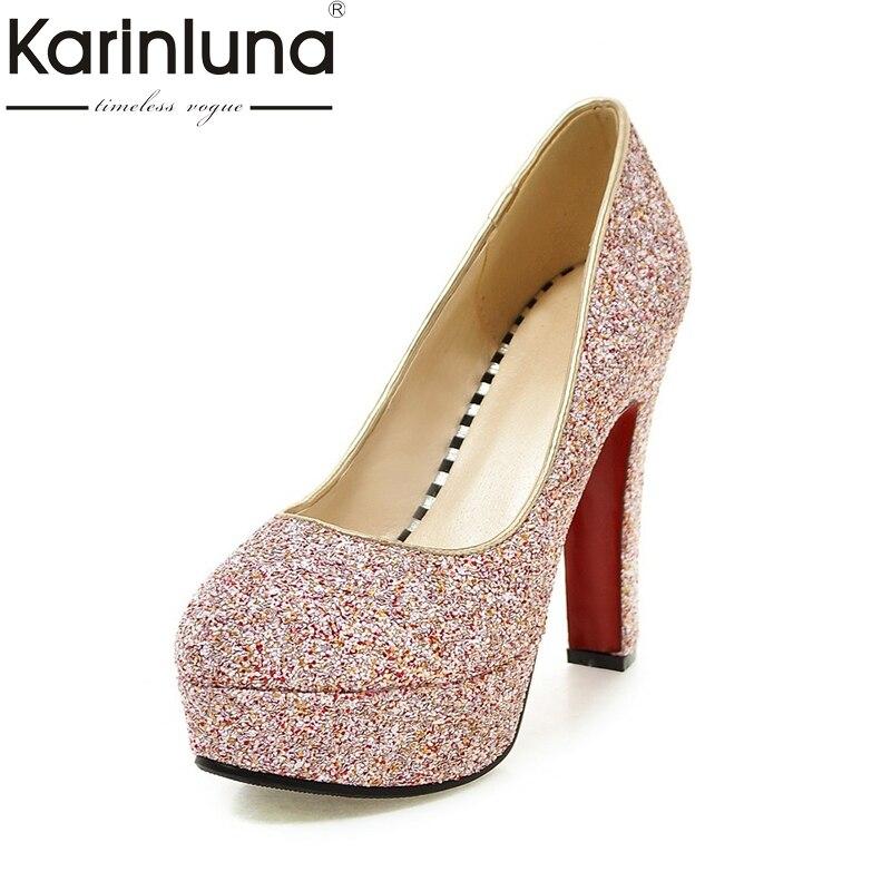 Karinluna Big Size 32-43 Platform Spike high-heeled Women Shoes Woman Pumps Bling Upper Party Wedding Bride Foowear<br>