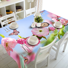 3D Tablecloths Pink Flowers Butterflies Printing Waterproof/oil-proof Washable Thicken Rectangle Dining Table Tea Table Cloth