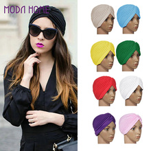 Stretchy Turban Head Wrap Hats Band Sleep Hat Top Quality Chemo Bandana Hijab Pleated Indian Cap