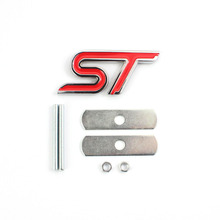 FOR FORD FIESTA FOCUS MONDEO ST CAR FRONT GRILL GRILLE EMBLEM BADGE CHROME&RED(China)