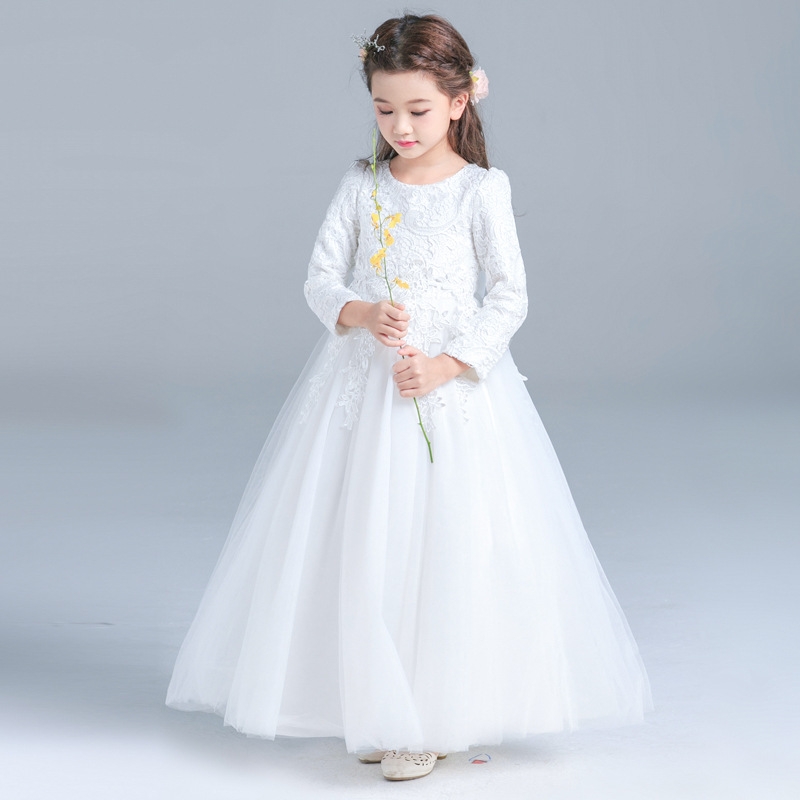 Formal-Wedding-Party-Baby-Girls-Dresses-2018New-Kids-Clothes-Solid-Brief-Cute-Lace-Princess-Ball-Gown (2)