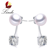 Lindo Women Australia Crystal Earrings 925 Sterling Silver No Defect Natural Pearl Drop Earrings High Quality Wedding Jewelry