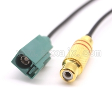 "RF connector Fakra SMB ""E' type 5021 male Plug to RCA Video TV female adapter connector RG174 pigtail Cable 20cm Free shipping(China)"