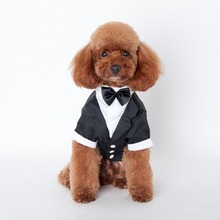 Mkono Stylish Cotton Gentleman Suit With Bow Tie Dog Puppy Cat Pet Clothes Supplies Accessories, black