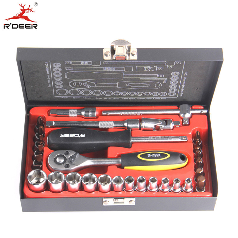 RDEER 1/4 Socket Wrench Set 33pcs Quickly Release Ratchet Handle Chromium-Vanadium Steel Car Maintenance Hand Tools<br>