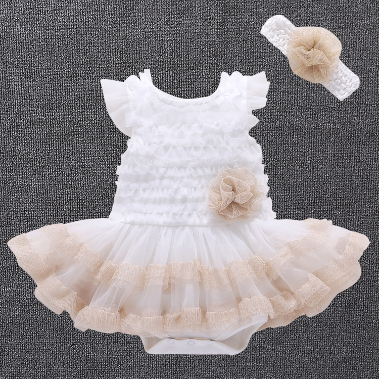 2017 Summer New Born Baptism Baby Girl Dress;cute Lace Tutu Wedding Baby dress+Headband Princess Birthday Dress Vestido Bebe(China (Mainland))