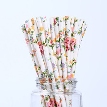 Zilue 100pcs/lot Paper Straw Valentine'S Day Birthday Party Decorations Pastoral Straw Paper Flowers Outdoor Party Supplies(China)