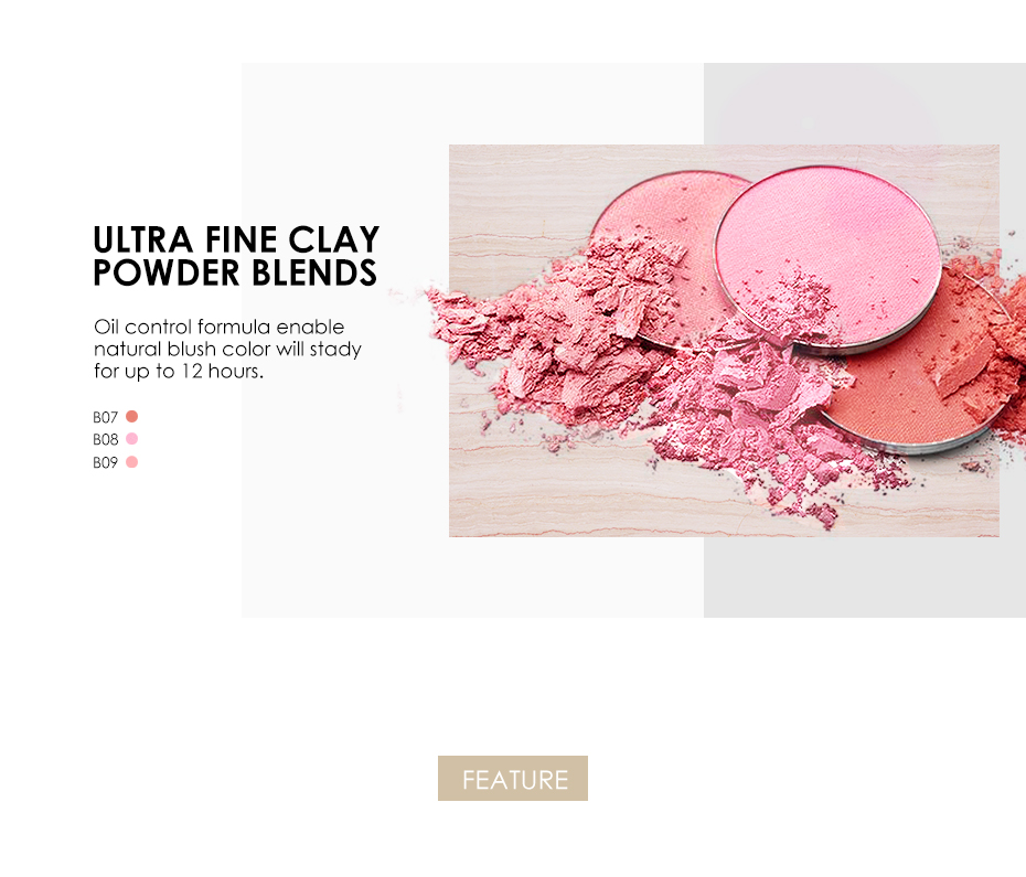 FOCALLURE 6 Colors Blush Makeup Cosmetic Natural Pressed Blusher Powder Palette Charming Cheek Color Make Up Face Blush 4