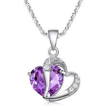 Fashion Big Crystal Purple Necklaces Allergy Prevention Glittering Angel Love Heart Pendant Necklace For Women Jewelry Gift(China)