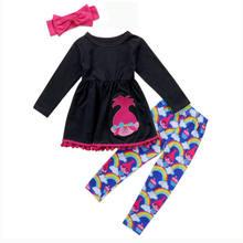 7f59f7f4aae Kids Baby Girls Rainbow Clothes Outfits T-shirt Tops Dress +Long Pants  Leggings Set