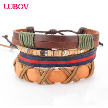 4 PCSSET Vintage Leather Bracelet 2016 Cute Beads Jewelry Wristband boho Statement Bracelet for Women Men