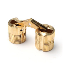 Lowest Price 4pcs 12mm Brass Barrel Hinge Invisible Hinge Concealed Hinge For Caravan Worktops(China)