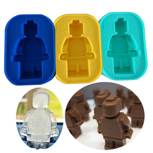 DIY 1 Hole robot Lego Robot Mini Figure DIY 3D Chocolate Mold Silicone Ice Cube Tray Bakeware Cake Tools  Fondant Moulds