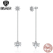 BISAER New 925 Sterling Silver Ferris Wheel and Spider Push-back Long Stud Earrings For Women Party Fashion Jewelry ECE019